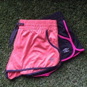 2 pairs of umbro shorts athletic